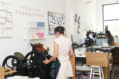 Our Brooklyn Letterpress Studio. Letterpress Machine, Letterpress Printing, Letter Press, Printing Press, Studio Ideas, Bookbinding, Typography, Prints, Inspiration