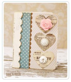 Shabby Sweet Heart Card...with buttons.