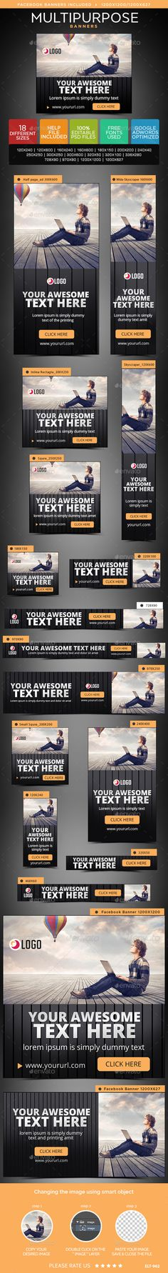 Multipurpose Web Banners Template PSD #design #ads Download: http://graphicriver.net/item/multipurpose-banners/14067668?ref=ksioks