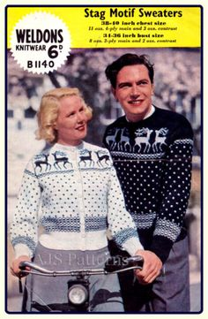 PDF Knitting pattern for a  Womans & Mans Reindeer and Christmas Tree Fair Isle Jumper - 1950s on Etsy, $4.12