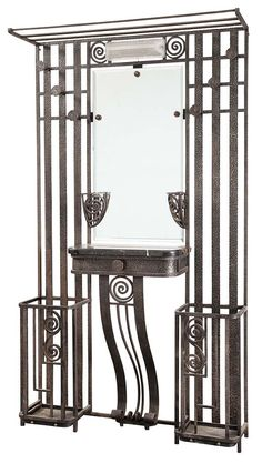 Art Deco Mirrored and Illuminated Iron Hall Stand
