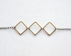 Modern Geometric Necklace, Minimalist Mixed Metal Jewelry, Solid Brass Squares, Vintage Gunmetal Necklace, Everyday Jewelry. $23.90, via Etsy.
