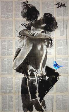 Art Espoir, Original Paintings, Original Art, Hope Art, Newspaper Art, Kawaii, Paper Artist, Lovers Art, Buy Art