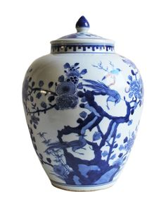 """- Blue & White Chinoiserie Jar - hand painted on white porcelain - featuring a classic Chinoiserie design with perched birds and floral motif - stands 13"""" high"""