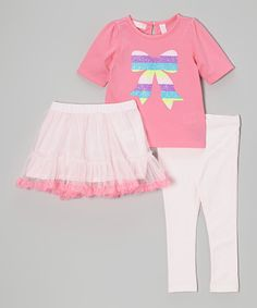Love this Kids Headquarters Pink & Purple Bow Tee Set - Infant, Toddler & Girls by Kids Headquarters on #zulily! #zulilyfinds