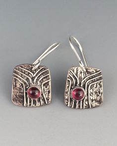 Silver Earrings with Garnets - Tree Hollows by bgConstructions on Etsy
