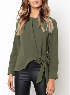 Women shirt o neck long sleeve slim shirt tie bow loose blouse camisa de mujer blusa Blouse Verte, Bow Tie Blouse, Tie Bow, Ruffle Blouse, Long Sleeve Tops, Long Sleeve Shirts, Blouses For Women, Ideias Fashion, Sleeves