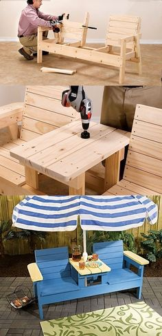 Plans of Woodworking Diy Projects - So cozy! DIY adirondack chair - double seat with center table. Heres how.: Get A Lifetime Of Project Ideas & Inspiration! #woodworkdiy #WoodworkDIY