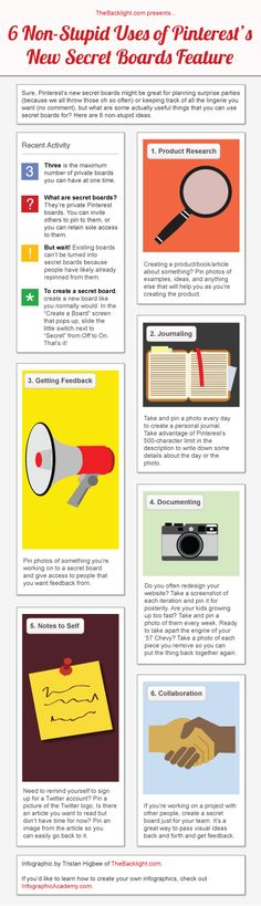 5 Non-Stupid Uses of Pinterest's New Secret Boards Feature [INFOGRAPHIC from http://thebacklight.com]