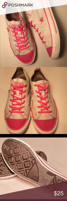 Converse one star pink and white lace ups, 8.5 Great color and super comfy one star converse with Lunarlon shock absorbing insoles, one star on side panel, durable canvas upper can also send white laces if you want to switch it up every once I awhile😍 Converse Shoes Sneakers