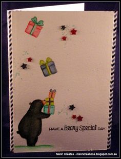 Beary Special (CYCI #116)  Using the birthday bear stamps from mft and coloured using intense pencils #mftstamps