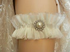 wedding garter, bridal garter, garter, rhinestone garter elastic frayed  ivory silk organza chiffon garter belt wedding bridal garter