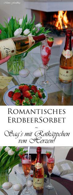 Ein romantischer Abend, ein selbst gemachtes Erdbeersorbet mit Sekt und gemeinsame Zeit. Dazu ein Gläschen Sekt vor dem Kamin, das verspricht doch ein schöner Abend zu zweit zu werden. Diese Momente sind Ruhe und Entspannung für uns. Besonders an Feiertagen ist es immer mal wieder schön sich ein paar Stunden zu nehmen. Wir nehmen uns … Alcoholic Drinks, Cocktails, Romantic Dinners, Be My Valentine, Parfait, Food Inspiration, Table Decorations, Desserts, Recipes