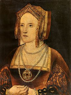 Once considered to be Catherine Parr, this painting is now asserted to Katherine of Aragon.  The style of clothing and gable hood point more toward the early 16th century as opposed to the mid 16th century, which would also point to the sitter being Katherine of Aragon.
