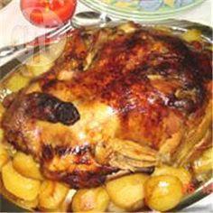 Griekse traditionele gebraden kalkoen gevuld met kastanje en pijnboompitten @ allrecipes.nl