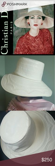 Christian Dior Leather Wide Brim Hat Miss Dior CREATED BY Christian Dior Designer Hat! Buttery Soft Off White Leather with Fine Tonal Stitching Throughout! Wide Brim Style with Interior Lining! Used with Signs of Wear,   Overall Mint Condition! Luxury Piece that is Classic and Timeless! Dior Accessories Hats