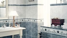 Sophistication in you #bathroom with our stylish #tiles