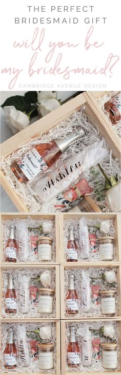 Looking for a simple and gorgeous DIY bridesmaid proposal gift? Fill a box (find them at any local craft store) with crinkle paper, our personalized champagne flute, a mini bottle of champagne, and her favorite goodies to pamper herself with.  Give your girls a bridesmaid gift they will be SURE to love!