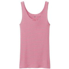 UNIQLO Women Supima Cotton Sleeveless Top (Stripe) (13 CAD) ❤ liked on Polyvore featuring tops, pink tank, striped top, layering tank tops, sleeveless tops and cotton sleeveless tops