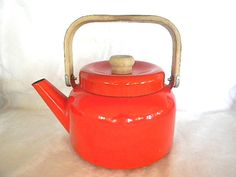 modern enamel orange red tea pot! love!