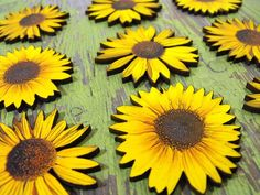 Big Wood Sunflowers by porkchopshow on Etsy, $7.95