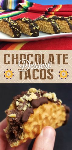 Mini Chocolate Dessert Tacos • These mini dessert tacos are made by filling waffle cookie shells with rich Señor Rico Chocolate Pudding with Cinnamon, dipping them in chocolate, and then popping them in the freezer. They're a treat you won't want to miss out on!
