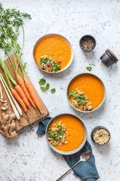 Lemongrass Ginger Roasted Carrot Soup - www.madelinelu.com