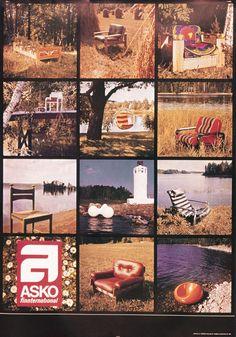 Asko finnternational kollaasi juliste vuodelta 1973. Kuvassa mm. Bonanza lepotuoli, Ilmari Lappalainen, Pulkka-tuoli. Eero Aarnion pastilli, kuplatuoli ja tomaatti - Askon vanha mainos
