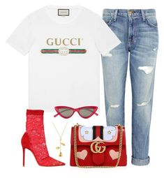 """""""#984"""" by concinnity ❤ liked on Polyvore featuring Current/Elliott, Gucci, Gianvito Rossi and Le Specs"""