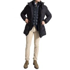 http://chicerman.com  roseandborn:  For the everyday man. Down filled parka from #Montecore combined with soft manchester slacks from #jacobcohen and #Crockettandjones boots. Everything available online! #roseandborn  #menshoes