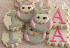 Look Whoo's One First Birthday Owl Decorated Sugar Cookies