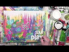 Soul Play with Paint and Stencils by Carolyn Dube using a StencilGirl stencil.