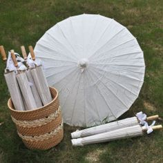 """A white color paper parasol / umbrella with ribbon 33"""" adult for wedding favor"""