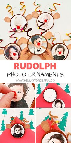 Rudolph Reindeer Photo Ornaments #christmascrafts #christmascraftsforkids #diyornaments #rudolph #rudolphreindeer #kidscrafts #kidsart