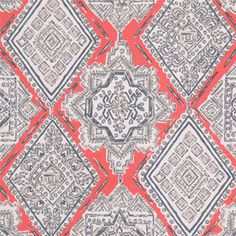 This is aorange/pink and white geometric design outdoor upholstery fabric by Premier Prints Fabrics, suitable for any dcor. Perfect for pillows, cushions, furniture and shower curtains.v114AFR