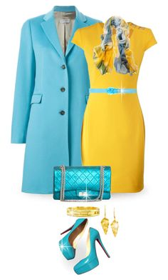 """""""Turquoise and Yellow"""" by terry-tlc ❤ liked on Polyvore featuring Alberto Biani, Versace, Chanel, Christian Louboutin, Blugirl, Printed Village, Elizabeth Locke, London Road, women's clothing and women's fashion"""