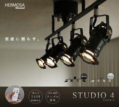 ハモサ スタジオ フォー HERMOSA STUDIO 4 Remocon Ceiling Lamp SL-001 照明 おしゃれ スポットライト 天井照明 北欧 4灯 シーリングライト リモコン レトロ モダン 取り付け 天井 リビング 新生活