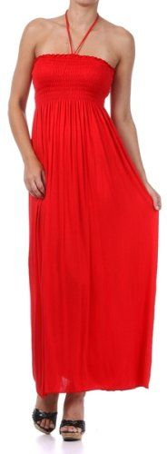 Comfortable Jersey Feel Solid Color Smocked Bodice String Halter Maxi / Long Dress ♥