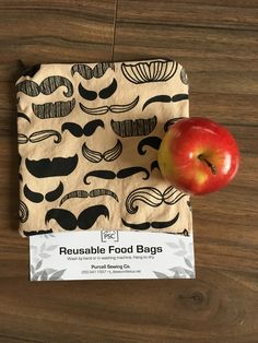 Moustache Themed Lined Washable Reusable Food Bag by PurcellSewingCo on Etsy Reusable Bags, Moustache, Unique Jewelry, Handmade Gifts, Sewing, Etsy, Vintage, Food, Kid Craft Gifts