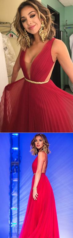 DIYouth Sexy Bateau Floor Length Chiffon Pleated Backless Red Prom Dress,prom dresses 2016, open back evening dresses. party dresses