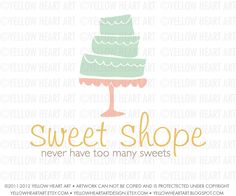Bakery or Baker's Cake Logo in Mint, Coral and Mustard by Yellow Heart Art. $50.00, via Etsy.