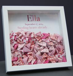 Personalized Name Paper Origami Hearts Shadowbox Newborn Baby Shower Gift by paintandpapercraft on Etsy