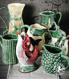 Bordallo Pinheiro pottery from Portugal is widely available in the U. Mccoy Pottery, Glazes For Pottery, Vintage Pottery, Ceramic Pottery, Ceramic Art, Ceramic Decor, Handmade Pottery, Porcelain Ceramics, China Porcelain
