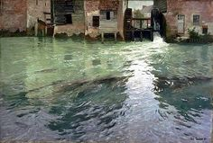 Frits Thaulow (Norwegian, Impressionism, 1847-1906): Water Mill, 1892. Oil on canvas. Philadelphia Museum of Art USA.