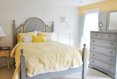 grey and yellow, board and batten accent wall, paint the headboard's routed out bits yellow
