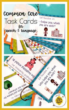 These Common Core Task Cards for Speech Therapy (K-2) make a great on-the-go activity for your students!