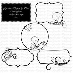 NEW Swirl Frames Clip Art For Personal and by graphicdesignbytara