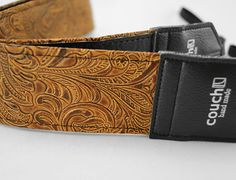Light Brown Embossed Western Camera Strap by couchguitarstraps