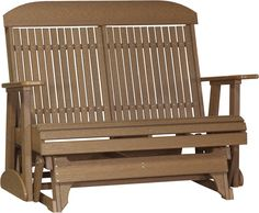 LuxCraft Classic Highback 4ft. Recycled Plastic Patio Glider - Antique Mahogany. FREE SHIPPING.
