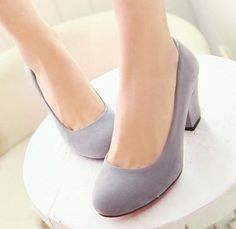 Free drop shipping new arrival women round toe flock top quality thin heels thick high heels fashion single shoes plus size34-43